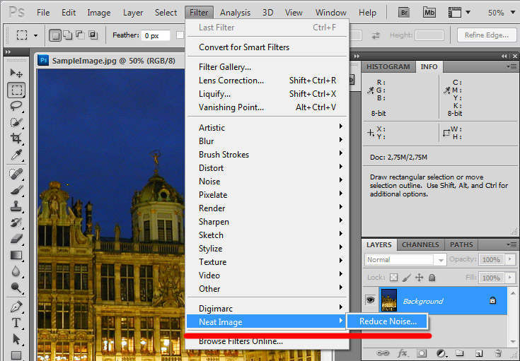 how to use neat image in photoshop